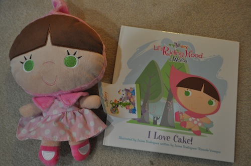 red riding hood book and plush