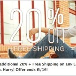Hurry! 20% off plus Free Shipping at Lee.com