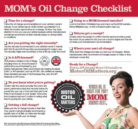 motor oil matters checklist