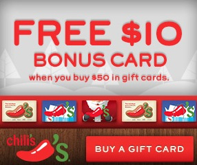 Buy a $50 Chili's GC & Get $10 Free!