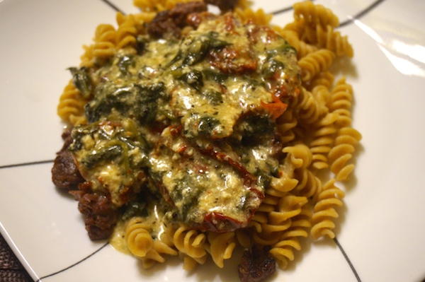 Recipe:  Beef with Sun-Dried Gorgonzola Alfredo