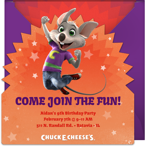 chuck e cheeses invite