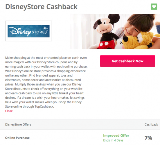 Saving at the Disney Store With TopCashback