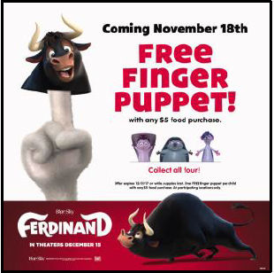 """Get Your """"Ferdinand"""" Puppets at Chuck E. Cheese's"""