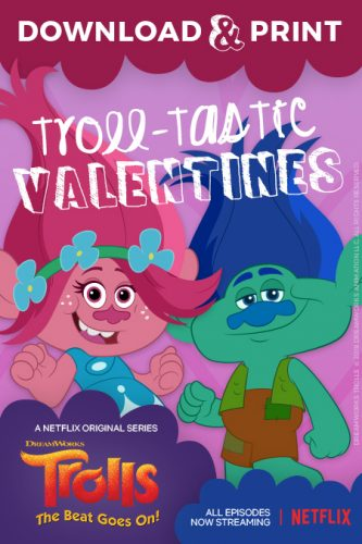 Download & Print Trolls Valentine's Cards #StreamTeam