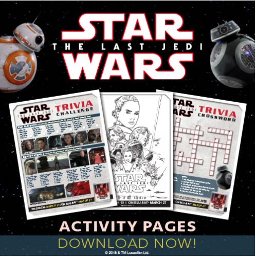"""Star Wars: The Last Jedi"" Activity Sheets"